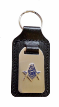 "Square & Compasses with ""G"" Black Leather & Brushed Steel Masonic Key Fob - K084"